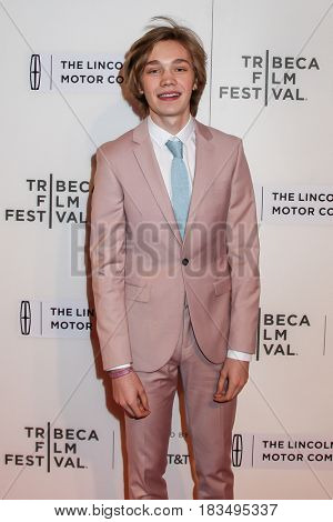 NEW YORK, NY - APRIL 24: Charlie Plummer attends 'The Dinner' Premiere at BMCC Tribeca PAC on April 24, 2017 in New York City.