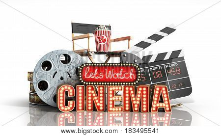 Cinema Had Light Concept Nave Lets Watch Cinema 3D Render On White