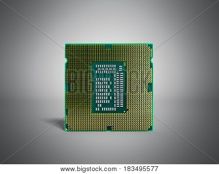 Central Computer Processors Cpu High Resolution 3D Render On Gey