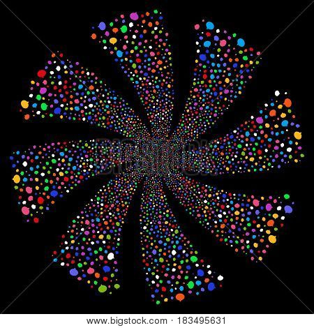 Hint fireworks swirl rotation. Vector illustration style is flat bright multicolored iconic symbols on a black background. Object whirlpool created from random pictograms.