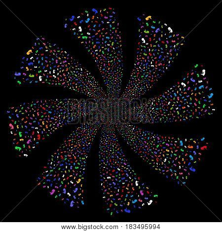 Human Embryo fireworks swirl rotation. Vector illustration style is flat bright multicolored iconic symbols on a black background. Object whirlpool combined from random pictographs.