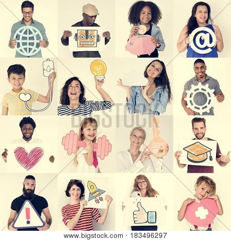 Diversity people collection collage with icons