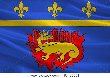 Flag of Vitry-le-Francois is a commune in the Marne department in north-eastern France. 3d illustration