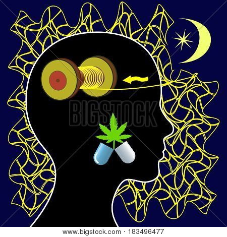 Insomnia and Marijuana. Woman taking medical cannabis for the treatment of sleeplessness or mental unrest