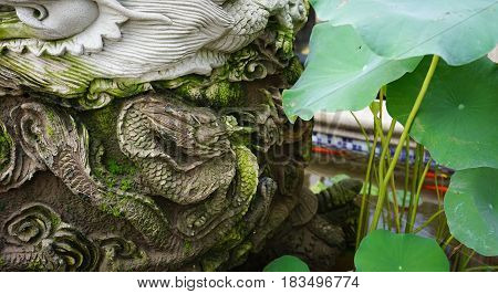 Dragon Statue With Lotus Plants For Decoration