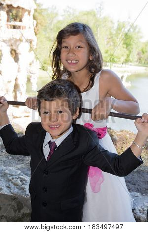 Two Children Are Dressed Elegantly Brother And Sister