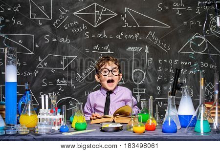 Little boy scientist in the laboratory. Educational concept.