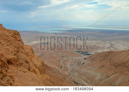 view from the hill where the historic Masada fortress