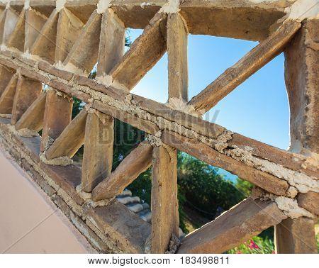 Old Balcony Railings Made Of Clay Bricks