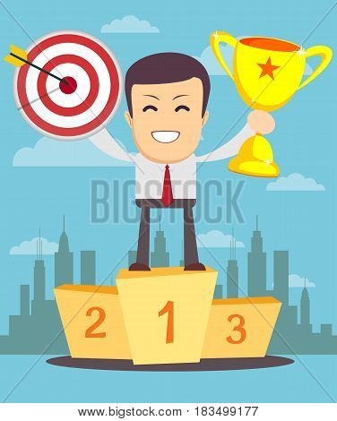 winner on a pedestal. Stock vector illustration for poster, greeting card, website, ad, business presentation, advertisement design.