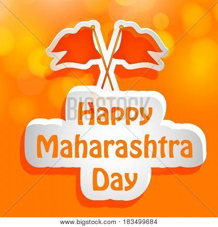 illustration of flags of maharashtra state, India with text happy maharashtra day
