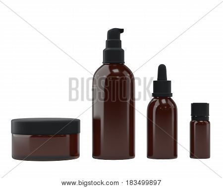 Set of bottles for essential oils and cosmetic products, isolated on white background. Dropper bottle, flask, spray bottle, jar. 3D rendering.