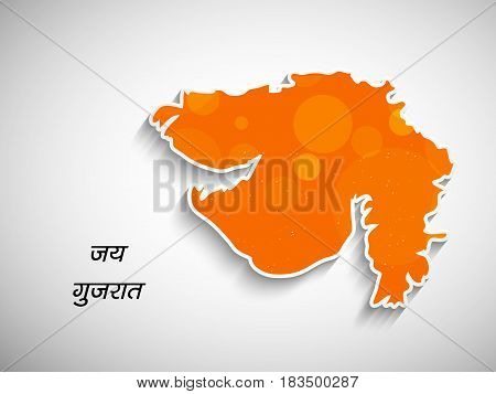 Illustration of map of Gujarat State, India