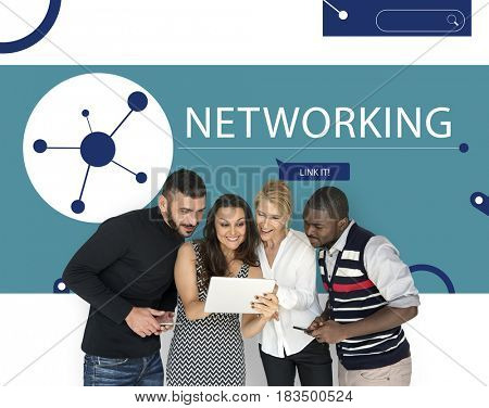 People connected by global network communication technology