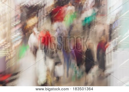 Abstract exhibition - trade fair show. Large group of people, pre-sales days, sales, blurred background