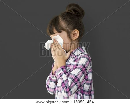 A girl is getting sick