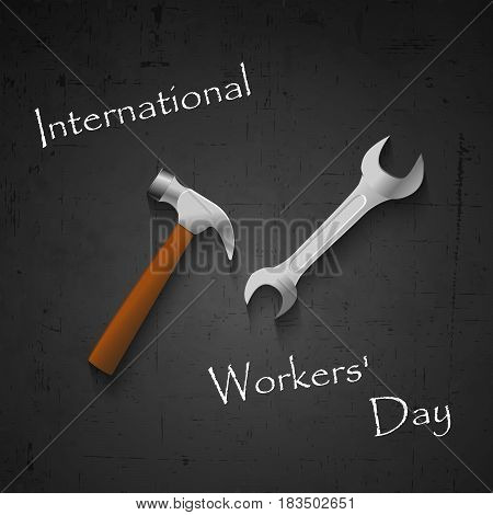 Illustration of spanner and hammer with International Worker's Day text