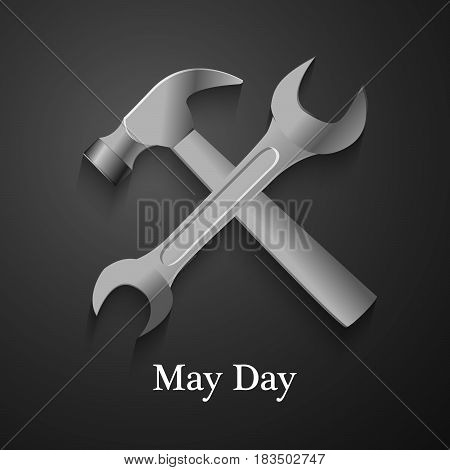 Illustration of spanner and hammer for May Day