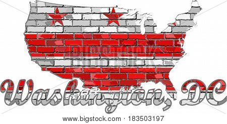 Washington, D.C. flag on a brick wall with effect - 3D Illustration