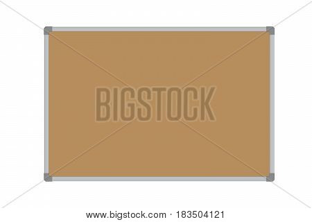 Realistic vector illustration of a blank cork whiteboard with aluminum frame isolated on a white background