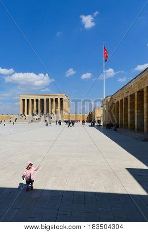 ANKARA, TURKEY - MARCH 27, 2017: The little girl in Anitkabir, Mausoleum of Ataturk - Ankara, Turkey
