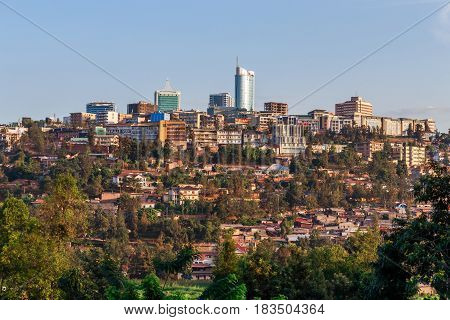 Panoramic view at the city bussiness district of Kigali Rwanda 2016