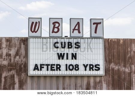 Marion - Circa April 2017: Sports Station WBAT 1400 AM Celebrates The Chicago Cubs World Series Win I