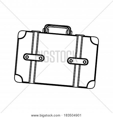 monochrome silhouette of suitcase with handle vector illustration