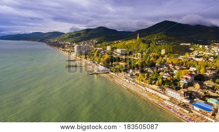 Aerial view on seashore resort area, Sochi, Russia