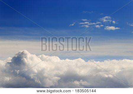 Beautiful Blue Sky With Clouds Background. Sky With Clouds Weather Nature Cloud Blue