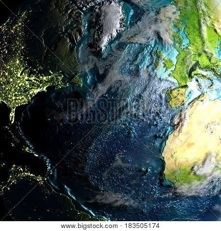 Northern Hemisphere On Physical Map In The Morning