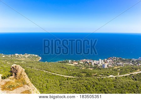 View on Foros town coastal landscape, Crimea, Russia