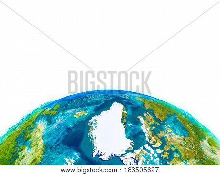 Greenland On Physical Globe