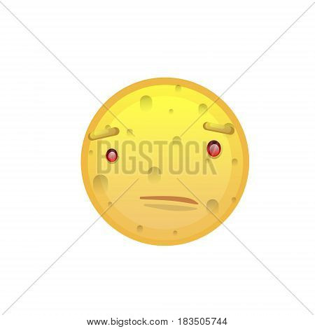 Yellow Smiling Face Disappointed Negative People Emotion Icon Flat Vector Illustration