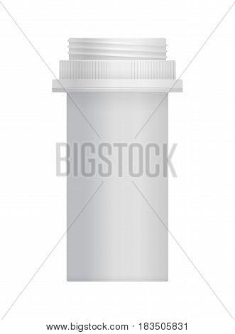 Blank white plastic container for vitamins isolated on white background vector illustration. Packaging design element for branding.