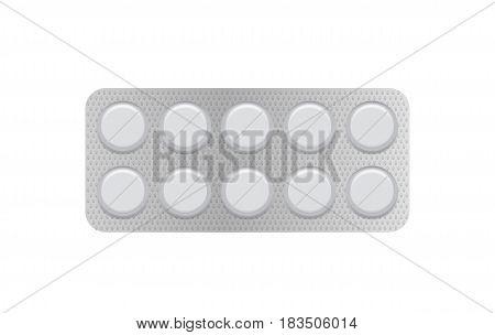 White 3d blister pack of tablet isolated on white background vector illustration. Packaging design element for branding.