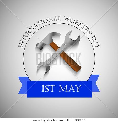 Illustration of spanner and hammer with may day text