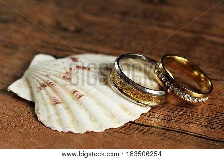 Seashells and two wedding rings love and happy