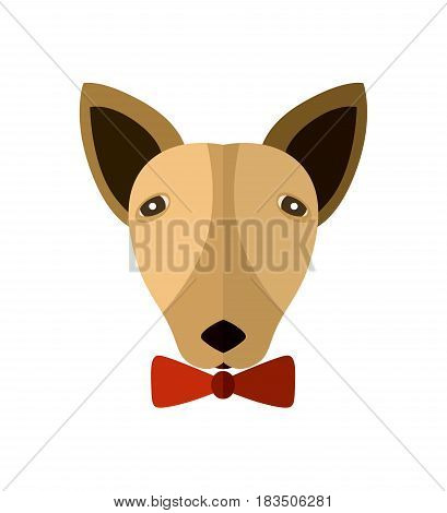 Bull terrier head icon isolated on white background vector illustration. Animal pictogram, pet emblem in flat design