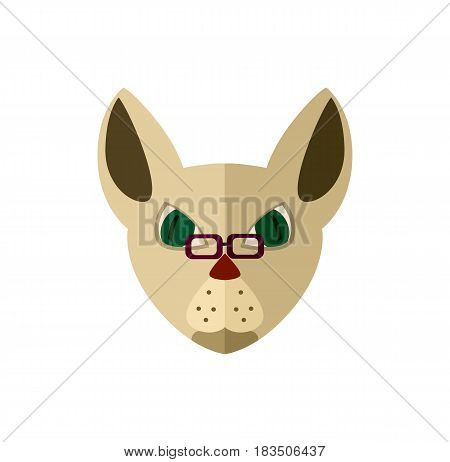 Siamese cat head with glasses icon isolated on white background vector illustration. Animal pictogram, pet emblem in flat design