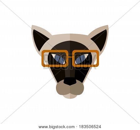 Sphinx cat head with glasses icon isolated on white background vector illustration. Animal pictogram, pet emblem in flat design