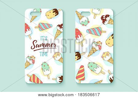 Template phone case with icecream and text Summer. Pattern with colorful icons ice-cream and popsicle in line graphic. Concept design for case and cover smartphone. Vector Illustration