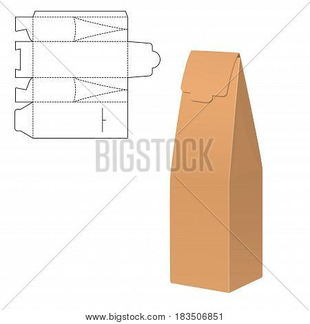Vector Illustration of Gift Die Cut craft Box for Design, Website, Background, Banner. Folding package vine bottle Template. Clear Fold alhogol pack with die line for your brand on it.