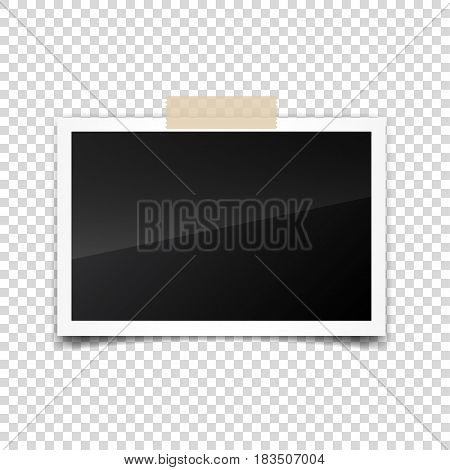 Photo card, frame, film set. Retro, vintage photograph with shadow and tape.Digital snapshot, image.Photography art. Template or mockup for design.Vector illustration on a transparent background.