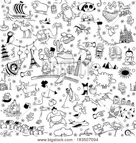 Around the World seamless pattern in black and white. Collection of various isolated objects sights animals and characteristic. Illustration is eps10 vector background separated.