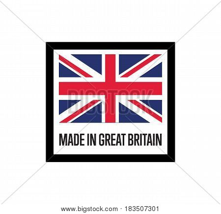 Made in England label for products vector illustration isolated on white background. Square exporting stamp with british flag, certificate element