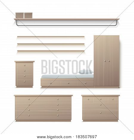 Vector set of beige wardrobe, closet, nightstand, clothes stand, rack and pillow front view isolated on background