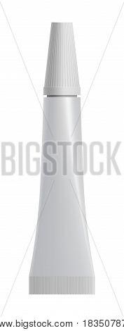 Blank white medical or cosmetic tube isolated on white background vector illustration. Packaging design element for branding.