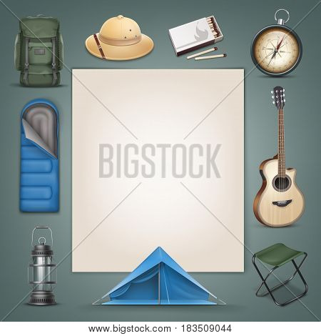 Vector camping stuff big green backpack, safari hat, blue sleeping bag, tent, lantern, compass, box of matches, guitar, folding chair and copyspace isolated on background
