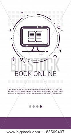 Reading Book Online Internet Library Banner Vector Illustration
